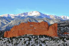 Snowy Pikes Peak and G.O.G. I Stock Photos
