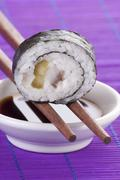 Maki sushi with herring and gherkins Stock Photos