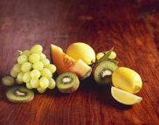 Fresh Fruit: Bananas, Oranges, Apples, Pears and Strawberries - stock photo