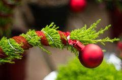 Stock Photo of red ornament on evergreen