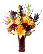 blooming flower arrangement in vase - stock photo