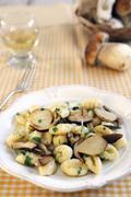 Gnocchi with porcini mushrooms Stock Photos