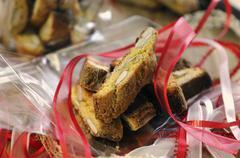 Cantucci on cellophane paper as a gift Stock Photos