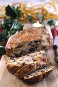 Fruit bread made from rice flour with figs and nuts (Italy) - stock photo