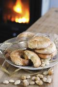 Biscotti Rococo (Italian almond biscuits) Stock Photos