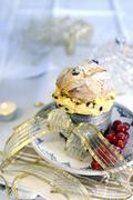 Stock Photo of A mini panettone filled with mascarpone cream