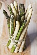 A bunch of green and white asparagus - stock photo