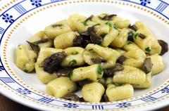 Stock Photo of Gnocchi with porcini mushroom sauce