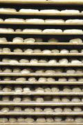 Shelves of unbaked bread in a bakery Stock Photos