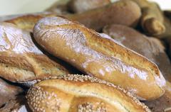 Ciabatta bread in a bakery - stock photo