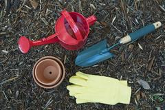 Various gardening utensils - stock photo
