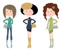 Three cartoon fashionable young women Stock Illustration