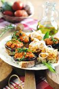 Mixed Tuscan crostini - stock photo
