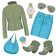 fashion set with skirt and a jacket - stock illustration