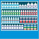 Stock Illustration of supermarket shelves with dairy products
