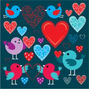 Set of birdies and hearts Stock Illustration