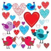 set of birdies and hearts - stock illustration