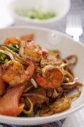 Shrimp fried noodles - stock photo
