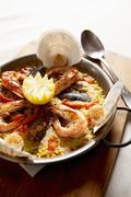 Paella in the pan Stock Photos
