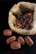 Chocolate macaroons with cocoa beans in the background Stock Photos
