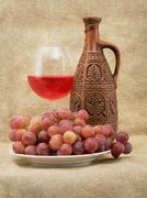 bright still life with wine - stock photo