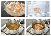 Stock Illustration of Steps for Making Shrimp Cocktail; Poaching in Seasoned Poaching Liquid