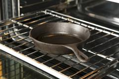 Cast Iron Skillet on an Oven Rack Stock Photos