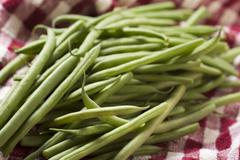 Fresh Green Beans on a Red and White Checked Towel Stock Photos