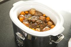 Beef Stew in a Slow Cooker Stock Photos