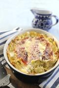 Leek and bacon lasagne - stock photo