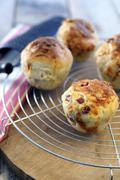 Pizza muffins with pancetta and scamorza - stock photo
