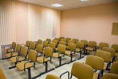 interior of a conference hall in pink tones - stock photo
