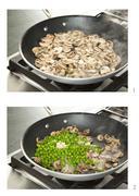 Sauteing Mushrooms and Peas Stock Photos