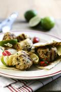 Grilled turkey kebabs with limes and unleavened bread - stock photo