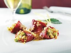 Stock Photo of Stuffed Piquillo Pepper Appetizer with White Wine