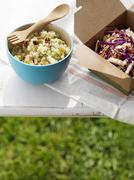 Two Side Salads on an Outdoor Table; Quinoa Salad and Cole Slaw Stock Photos