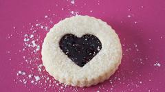 Jam Filled Heart Cookie Stock Photos