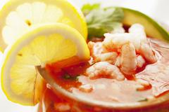 Stock Photo of Mexican Style Shrimp Cocktail; Close Up