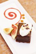 Organic Chocolate Marquis Dessert with Figs Stock Photos