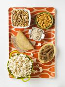 Assorted Grain Based Products: Taco Shells, Tortillas, Whole Grain Fusilli, Stock Photos