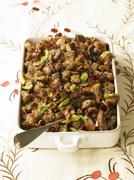 Pecan Cherry Stuffing in Baking Dish - stock photo