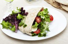 Pita Bread Stuffed with Salad and Mozzarella Cheese Stock Photos