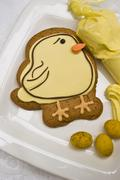 An iced Easter chick biscuit - stock photo