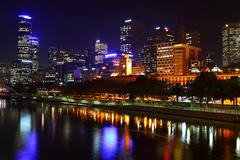 Melbourne city lights over the yarra river, night, australia Stock Photos