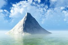 single rock in calm sea - stock photo
