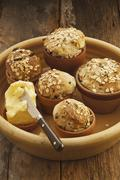 Flowerpot bread with dried fruit and oats - stock photo