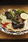 Pork kebabs with a red wine marinade - stock photo