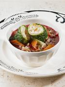 Borscht with savoy cabbage rolls Stock Photos