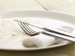 A dirty plate, cutlery and a paper napkin Stock Photos