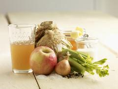 Ingredients for celery and apple soup Stock Photos